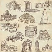 stock photo of ziggurat  - An hand drawn collection in one big set  - JPG