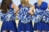 stock photo of mini-skirt  - Rear view midsection of three cheerleaders holding pom poms - JPG