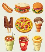 stock photo of junk  - Cartoon fast food icon - JPG