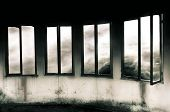 stock photo of grayscale  - Windows Through a Stormy Sky  - JPG