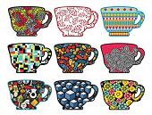 foto of tree snake  - Set of tea cups with cool patterns - JPG