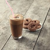 stock photo of frappe  - Greek coffee cold Frappe drinkl and biscuits on table - JPG