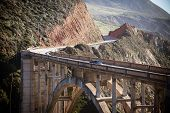 pic of pch  - A view of Bixby Bridge out to the Pacific Ocean near Big Sur California USA - JPG
