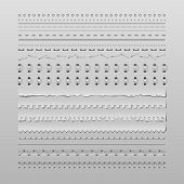 stock photo of staples  - Design elements vector set of high detailed stitches and dividers - JPG
