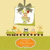pic of baptism  - baby shower card with cute teddy bear - JPG