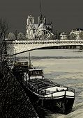Vector illustration of Paris- Seine River with barges - Ile de la Cite and Notre-Dame - stormy weath