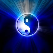 stock photo of ying yang  - Yin Yang sign on a blue background - JPG