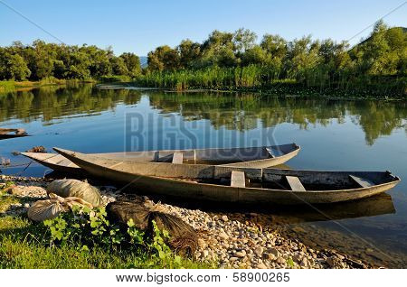 Rural scenery with river and boat