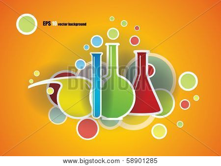 Chemical flasks and formulas Science background