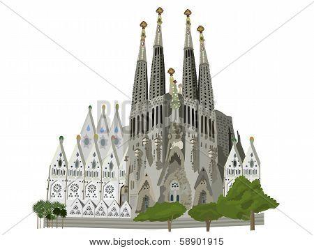 Sagrada Familia Church Vector Illustration