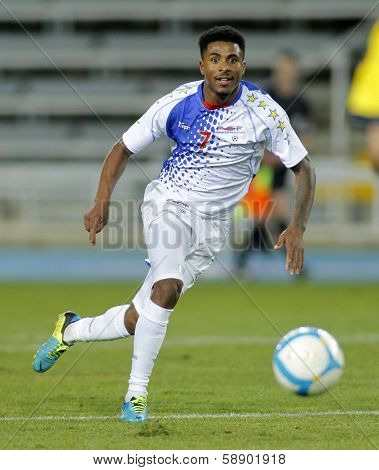 BARCELONA - DEC, 30: Cape Verdean player Lu�?�s Carlos Soares aka Platini in action during the friendly match between Catalonia and Cape Verde at Olympic Stadium on December 30, 2013 in Barcelona, Spain