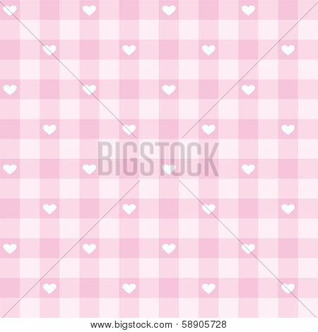 Seamless vector checkered pattern or grid texture with white hearts for web design