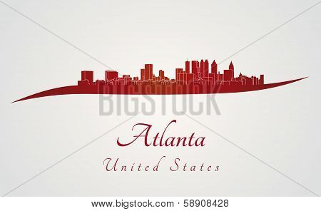 Atlanta Skyline In Red