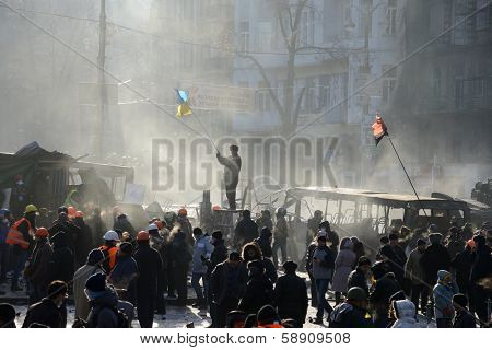 KIEV, UKRAINE - JANUARY 20, 2014: Anti-government protest in Kiev,  Grushevsky str.  Mass meeting for the government's resignation.