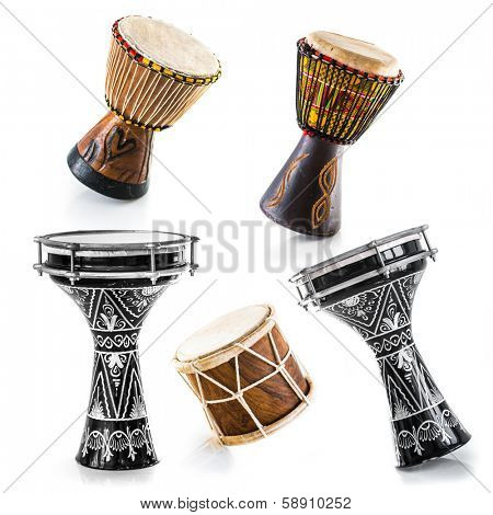 African drums on a white background. Set