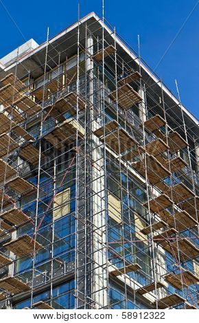 Scaffolding At Building Site