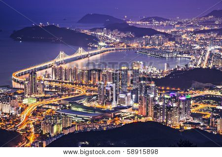 Busan, South Korea aerial view at night.