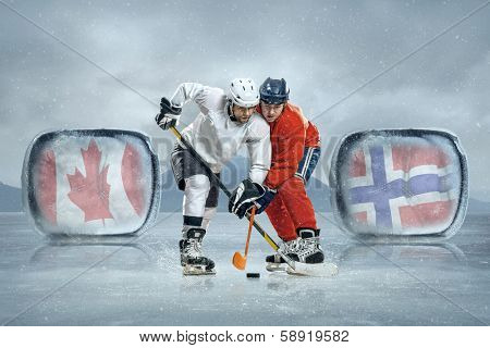 Ice hockey players on the ice. Game between Canada and Norway