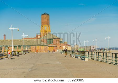 NEW YORK, SEPTEMBER 29, 2013 - Jacob Riis Park, Rockaway, Queens, boardwalk and old bathhouse