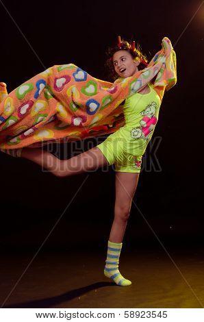 young girl having fun before sleep