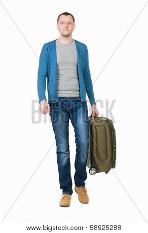 back view of walking  man  with suitcase. brunette guy in motion. backside view person. Rear view people collection. Isolated over white background. young man goes to side rolling travel bag on wheels
