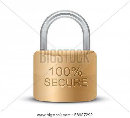 Metallic padlock. 100% Secure. SSL certificate sign for your website. Vector illustration