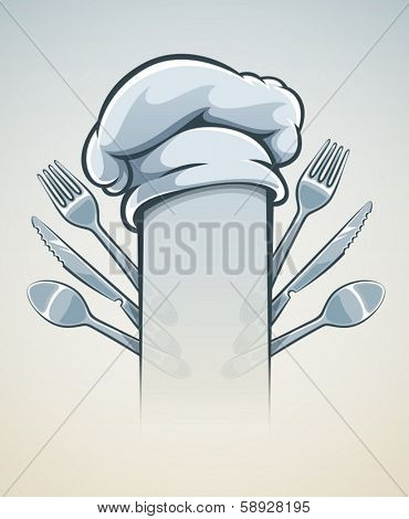 Kitchen utensils for cooking fork knife spoon and cap. Eps10 vector illustration.