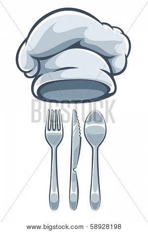 Kitchen utensils fork knife spoon and cooks cap. Eps10 vector illustration. Isolated on white background