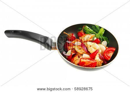 fried chicken brisket slices on teflon pan