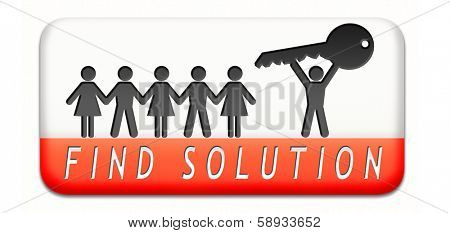 solutions solve problems and search and find a solution icon button or sign concept by paper chain silhouette