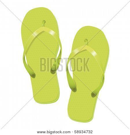 Lime Green Flip Flops Summer Vacation Vector Illustration