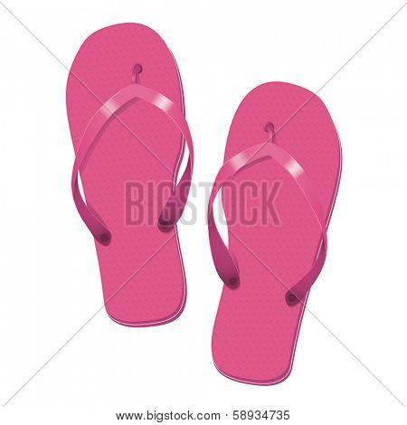 Pink Flip Flops Summer Vacation Vector Illustration