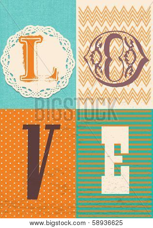 Vintage Style Love Typography & Background