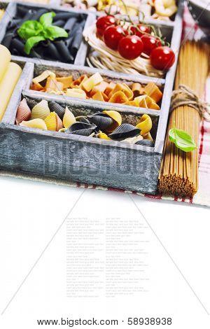 Assorted pastas in wooden box