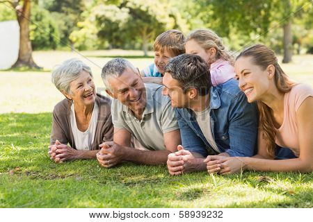 Portrait of an extended family lying on grass in the park