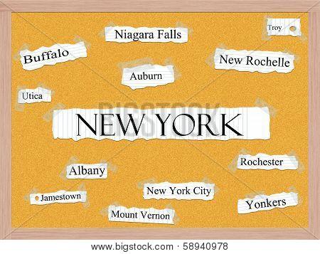 New York State Corkboard Word Concept