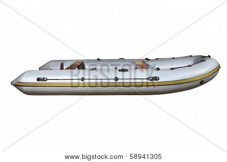 Side View On The Gray Inflatable Rubber Boat Dinghy Pvc.