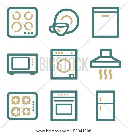 Home appliances web icons, two color series