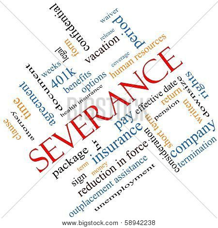 Severance Word Cloud Concept Angled