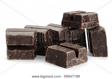 Close-up image of dark chocolate with white background
