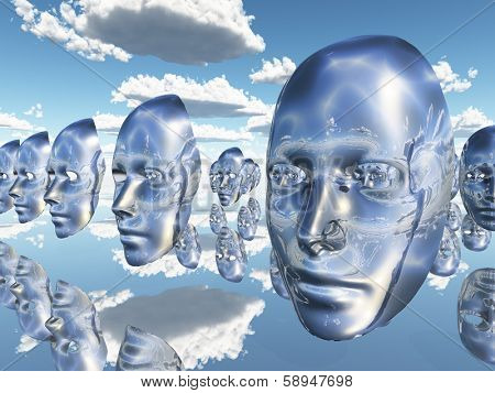 Disembodied faces or masks hover in surreal scene