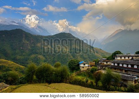 Ghandruk village with the Annapurna South and the Hiunchuli in the background, Nepal