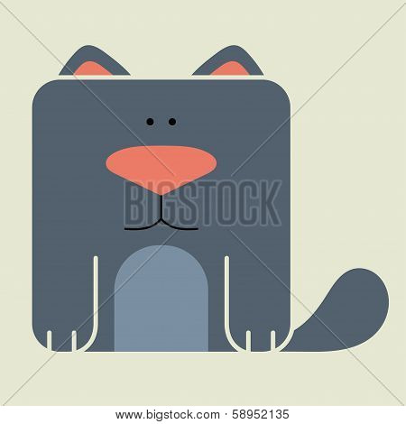 Flat square icon of a cute cat