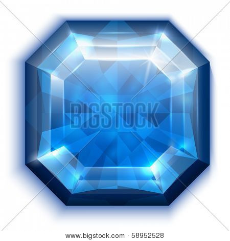 Asscher cut blue diamond icon - eps10