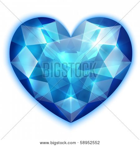 Heart-shaped blue diamond icon - eps10