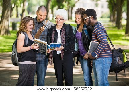 Group of senior students asking professor a question outdoors
