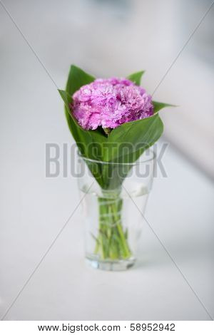 Isolated On A White Background Artists Bouquet Of Fresh Pink
