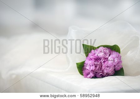 White Background With Pink Flower Bouquet Before The Veil