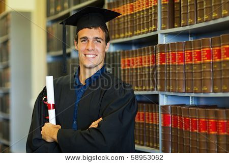 handsome university law school graduate in library