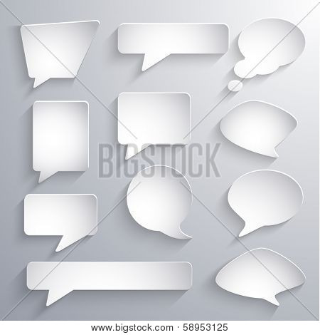 Set of paper 3d speech bubbles - eps10 vector